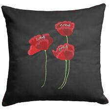 RED POPPY  FLOWERS SILK EMBROIDERED BLACK FLORAL PIPED CUSHION COVER  £5.99 EACH