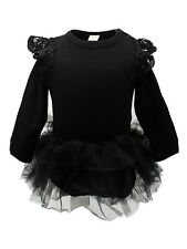 Baby Girl Long Sleeve Ruffle Cotton Romper with Tulle Tutu Skirt