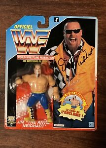 Autographed Signed Jim The Anvil Neidhart WWF HASBRO Titansports Action Figure