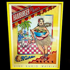 "HAMBURGER MARY'S ADVERTISING PRINT FRAMED 24"" KUHIO AVE. WAIKIKI HAWAII"