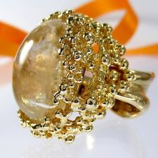 A699 XL Ring Rutilquarz Rutilated 925 Silber Schmuck Gold verg. 35,7g Handarbeit