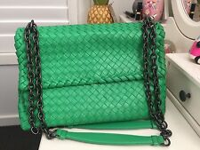 Bottega Veneta Olimpia Large Intrecciato Leather Shoulder Bag Green RRP$6600