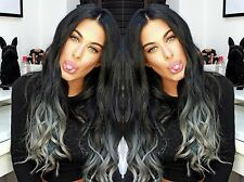 "20""HUMAN WEAVE 100G #1B/GREY BEAUTIFUL INDIAN REMY WEFT HAIR UK SELLER 5A GRADE"
