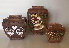 Vintage Brayton Laguna Pottery Webtonware Canister Set 3 Pieces Nice