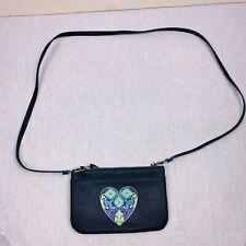 Brighton Navy Blue Saffiano Texture Summer Heart Mini Shoulder Bag Crossbody