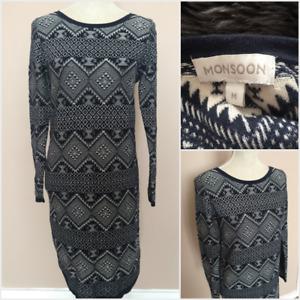 Monsoon Navy Blue Aztec Pattern Cotton Long Sleeve Knee Length Sweater Dress M