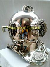 Copper Vintage Silver Diving Helmet Boston Collectible Chrome Scuba Helmet Gift