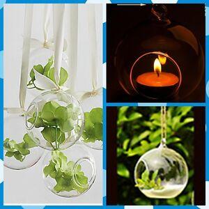 Clear Round Votive Candle Holder Hanging Vase Round base Glass House 4 pcs( USA)