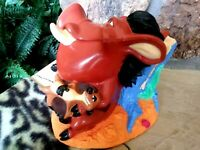 PUMBA WITH TIMON, AND SIMBA, VINTAGE BANKS FIGURINES, DISNEY LION KING, NEW MINT