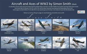 Spitfire MK1 Aces DFC collectors postcard set Battle of Britain Malan,Tuck,