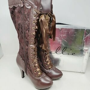 """Ellie 414-Mary Victorian Brown Knee High Boots 4"""" Heels Side Zip Size 6"""