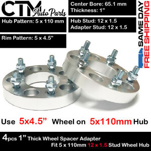 """4PC 1"""" THICK 5x110mm to 5X4.5"""" WHEEL ADAPTER FIT PONTIAC G5/G6/SOLSTICE"""