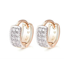 18 k Gold Plated Baby Girl Christening 2 Rows Sparkle Hoops First Earrings E1271