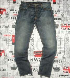 mens W36 L34 Levi's 501 Jeans Tapered Leg Red Tab Aged Blue Denim Factory Fade