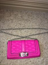 Auth Rebecca Minkoff Quilted Leather Mini Love Crossbody Clutch Wallet Flamingo