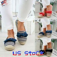 Summer Women's Sandals Striped Flats Shoes Bowtie Espadrilles Loafers Beach US