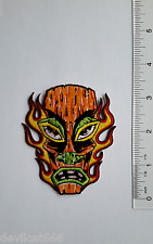 Flaming Tiki Iron-On Embroidered Patch Applique Pop Culture Lowbrow Alan Forbes