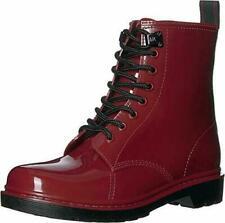 MICHAEL KORS MK Tavie Logo Lace Up RAIN Boots Red Brandy Women's  Size 8  NEW