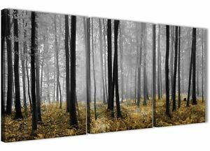 3 Panel Yellow and Grey Forest Woodland Trees Hallway Canvas - 3384 - 126cm