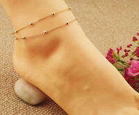 Fashion gold Double Chain Anklet Barefoot Ankle Bracelet Beach Foot Jewelry