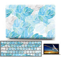 """Blue Leaves Matte Hard Case Shell Keyboard Cover for Macbook Air PRO 11"""" 13"""" 15"""""""