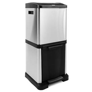 Evre Stainless Steel Recycling Bin | 2 compartment |  34L ( 18L + 16L ) |
