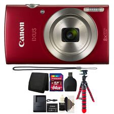 Canon PowerShot IXUS 185 / Elph 180 20MP Compact Digital Camera Red + 64GB Kit