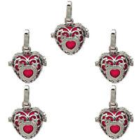 Flower Pattern Heart Pearl Cage Perfume Diffuser Locket Pendant 5X-K37