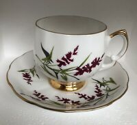Vintage Royal Vale Bone China England Tea Cup & Saucer Purple Floral Design 7124