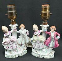 Vintage Table Lamps Set Of 2 Boudoir Bedroom Colonial George Martha Porcelain