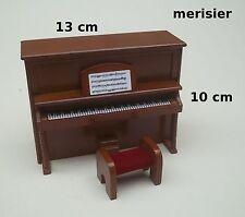 piano droit en merisier,miniature maison de poupée, instrument musique, tabouret