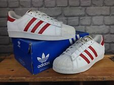ADIDAS MENS UK 9 EU 43 1/3 WHITE SCARLETRED GOLD SUPERSTAR 2015 CLASSIC TRAINERS