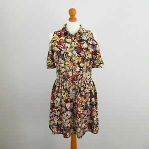 Topshop Womens Red Yellow Floral Open Shoulder Button Floaty Summer Dress UK 12