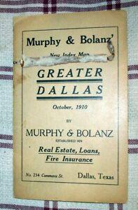 MURPHY & BOLANZ' GREATER DALLAS MAP 1910 - THEODORE SCHAUSEIL