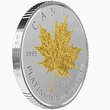 2015 Canada 1 oz Pure Platinum $300 Maple Leaf Forever Coin Gold-Plated