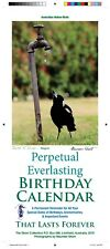 Everlasting Birthday Calendar-Australian Made-Birds Theme+Free Greeting Card