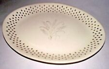 "Golden Wheat Platter Homer Laughlin Fleur de lis USA Vtg Gold 13"" Oval White"