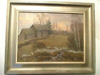 ANTIQUE / VINTAGE LANDSCAPE COUNTRY HOUSE OIL PAINTING SIGNED