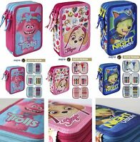Triple Pencil Case Full Equipped,Licensed Branded Product,Paw Patrol,Trolls