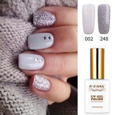 2 PIECES RS 002_248 Gel Nail Polish UV LED White Silver Glitter Colour Soak Off