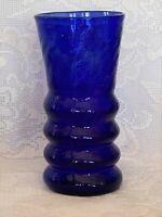 Unusual Vintage Cobalt Blue Hand Blown Art Glass Vase-Rough Pontil- Estate Item
