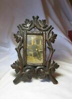"Black Forest Carved Picture Frame Antique Victorian 8"" Vines & Foliage Easel"