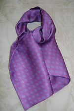 "Macclesfield 100% silk twill gentlemans short cravat 39"" x 9"" lilac Paisley"