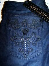 AFFLICTION SINFUL JADE BLADE CROSS BLACK PREMIUM LABEL TWILIGHT DENIM JEANS 28