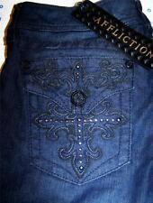 Affliction Sinful Jade Blade Cross Black Premium Label Twilight Denim Jeans 28