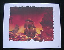 """The Art Of Disney Theme Parks """"Pirates Of The Caribbean"""" Ships LR Lithograph MIP"""