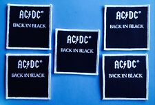 5 Lot AC / DC Back In Black Rock Music Iron On Hat Jacket Backpack Patches B