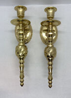 "PAIR Of VINTAGE  SOLID BRASS WALL MOUNTED SCONCE TAPER CANDLEHOLDER 9-3/4"" India"