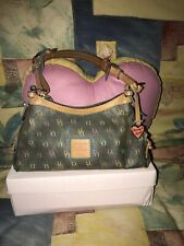 Dooney & Bourke D B Logo Coated Canvas Zip Top Shoulder Bag Purse Handbag