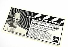 beau coupon COCA-COLA USA de 1980 - Don't Say Le 'P' Word - Max Headroom